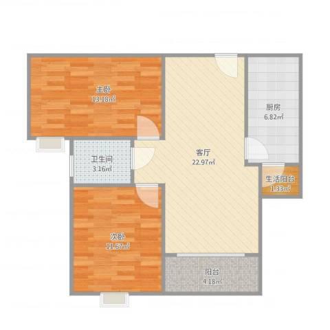 中国铁建公园11592室1厅2卫1厨78.00㎡户型图