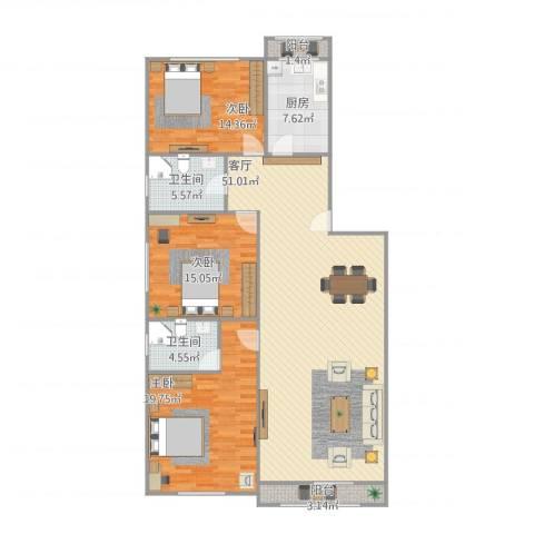 龙腾苑五区3室1厅2卫1厨163.00㎡户型图