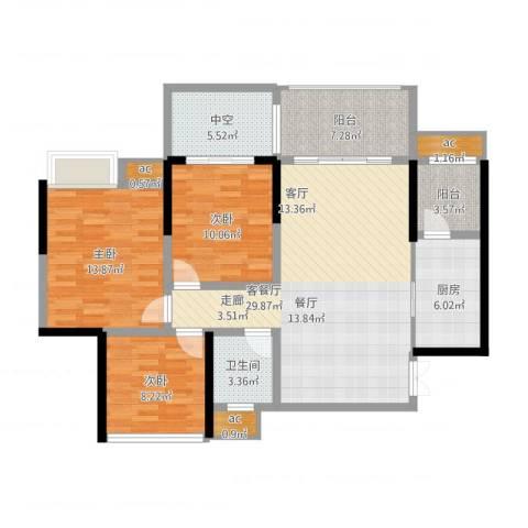 远大都市风景3室1厅1卫1厨131.00㎡户型图