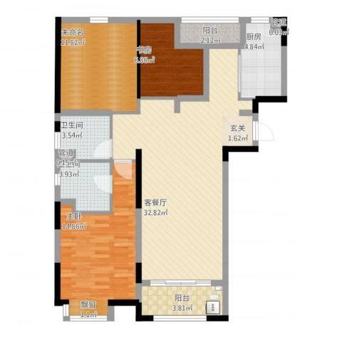 绿洲康城亲水湾2室1厅2卫1厨123.00㎡户型图
