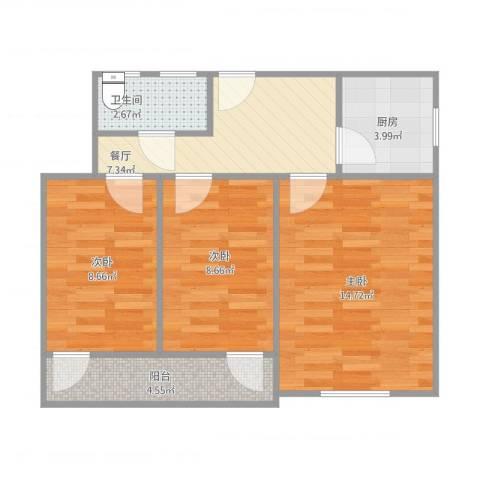 彩香一村3室1厅1卫1厨69.00㎡户型图