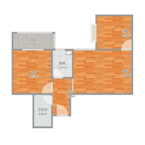 西铁小区2室1厅1卫1厨72.00㎡户型图