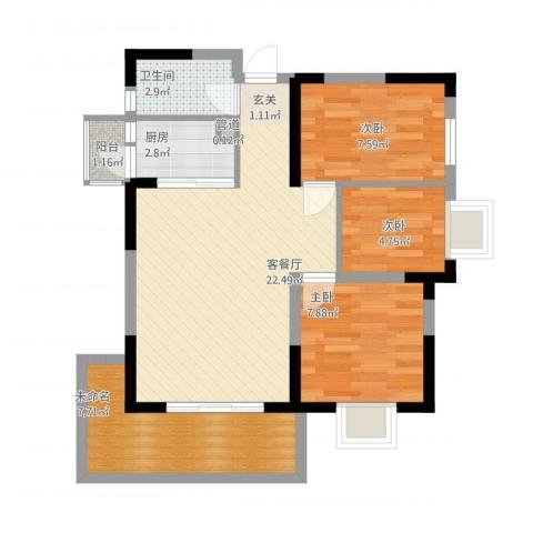 潜龙鑫茂花园3室1厅1卫1厨84.00㎡户型图