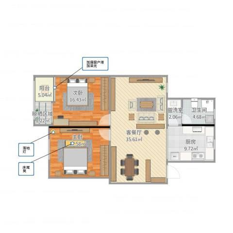 春申苑2室2厅1卫1厨121.00㎡户型图
