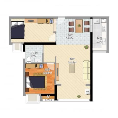 港湾江城1室1厅1卫1厨98.00㎡户型图