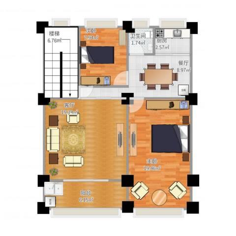 汇景蓝湾一期2室2厅1卫1厨101.00㎡户型图