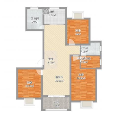 世纪名郡3室1厅2卫1厨143.00㎡户型图