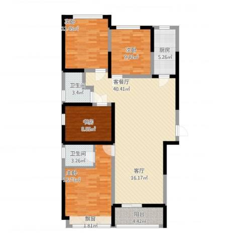 鸿泰嘉园三期4室1厅2卫1厨146.00㎡户型图