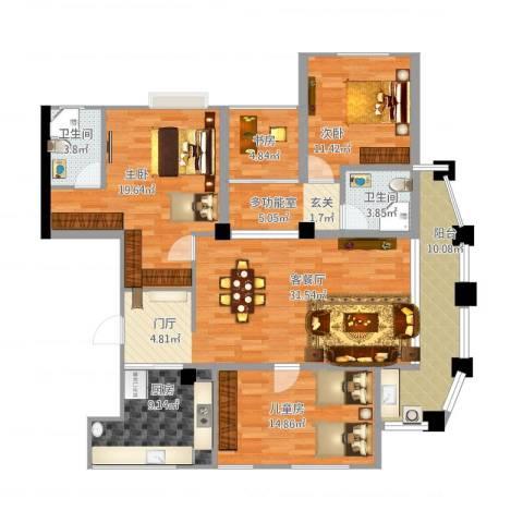 金城花园4室1厅2卫1厨163.00㎡户型图