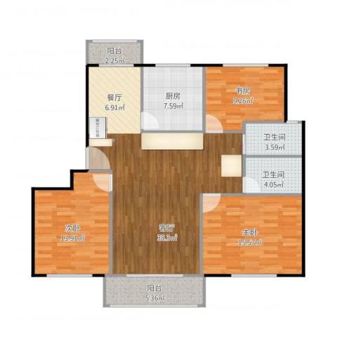 欧洲豪庭(韵都城)3室1厅2卫1厨134.00㎡户型图