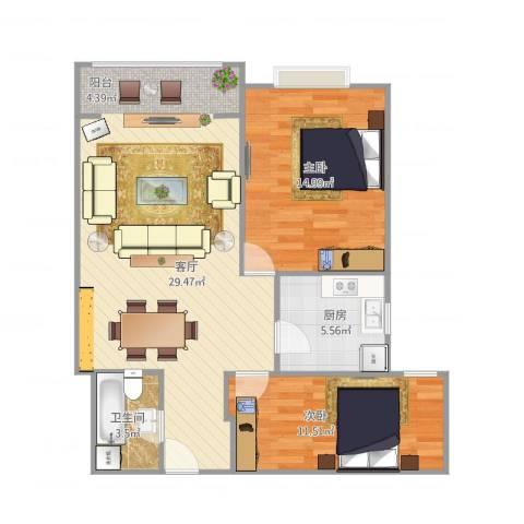 北京富燕二区l22室1厅1卫1厨93.00㎡户型图