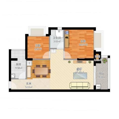 港湾江城2室1厅2卫1厨81.00㎡户型图