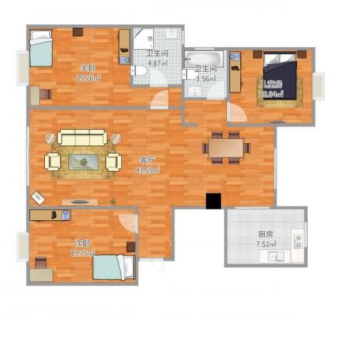 建德花园牡丹苑3室1厅2卫1厨134.00㎡户型图