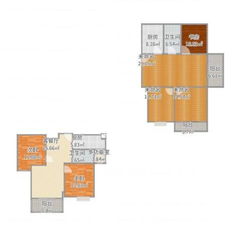 港鑫城3室1厅2卫2厨210.00㎡户型图