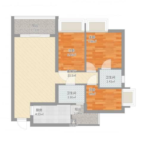 御景华城3室1厅2卫1厨81.00㎡户型图
