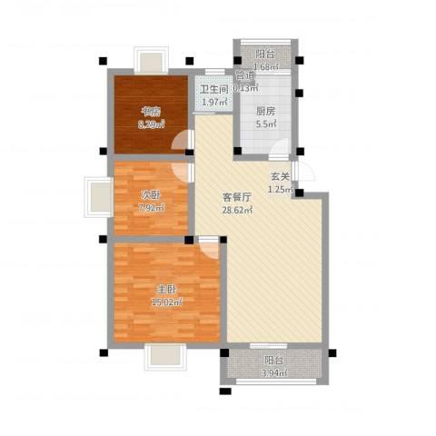 永泰家园3室1厅1卫1厨106.00㎡户型图