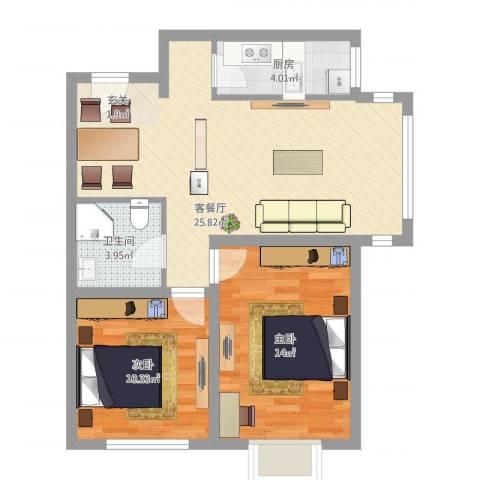 新加坡花园2室1厅1卫1厨66.00㎡户型图