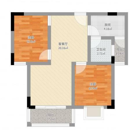 翠月嘉苑2室1厅1卫1厨74.00㎡户型图