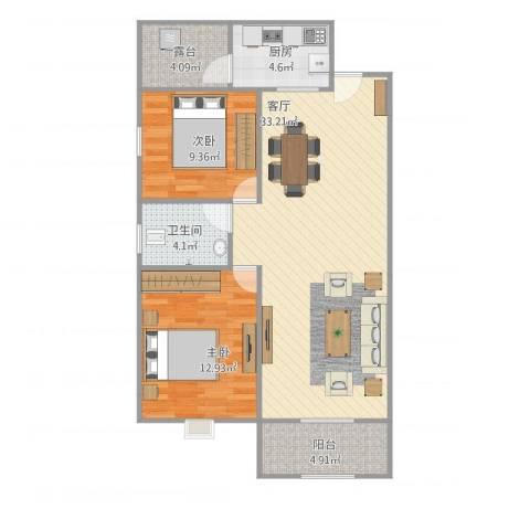 金科中央公园城2室1厅1卫1厨98.00㎡户型图