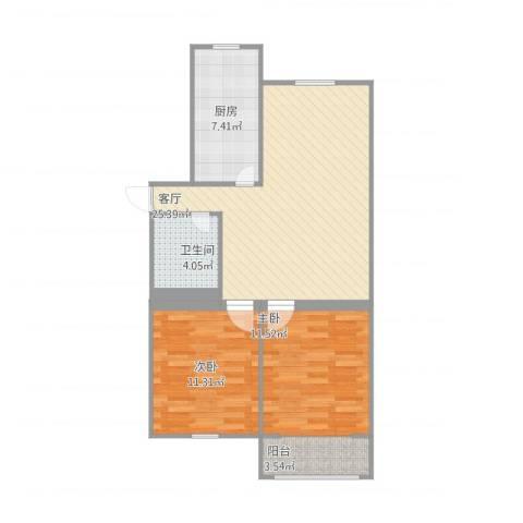 天申综合小区2室1厅1卫1厨86.00㎡户型图