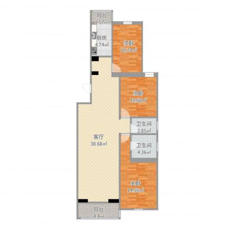 龙筋苑东五区3室1厅2卫1厨127.00㎡户型图