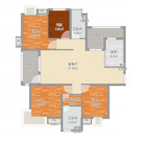 金地格林世界高尔夫公馆4室1厅9卫1厨164.00㎡户型图