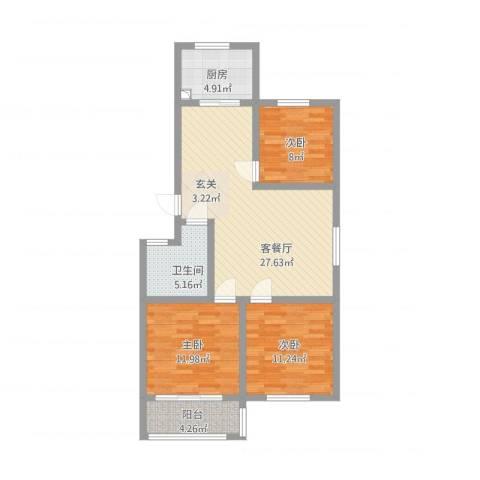 一品名郡3室1厅1卫1厨106.00㎡户型图