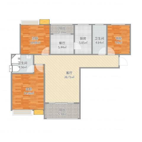 鑫苑世家3室2厅2卫1厨120.00㎡户型图