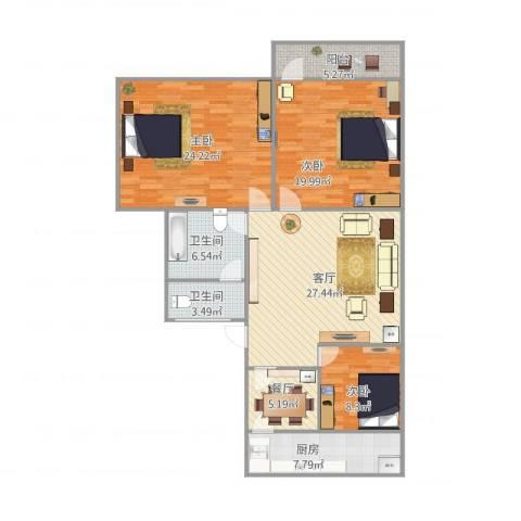 洪楼西路单位宿舍3室2厅2卫1厨115.77㎡户型图