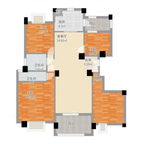 安阳碧桂园4室1厅3卫1厨148.00㎡户型图