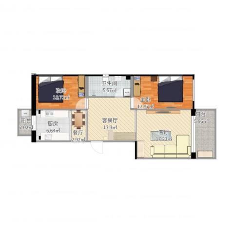 王仔花苑2室3厅1卫1厨86.30㎡户型图