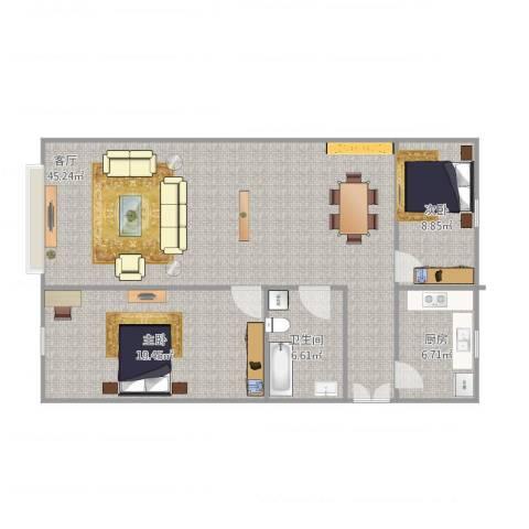 美印雅苑2室1厅1卫1厨115.00㎡户型图