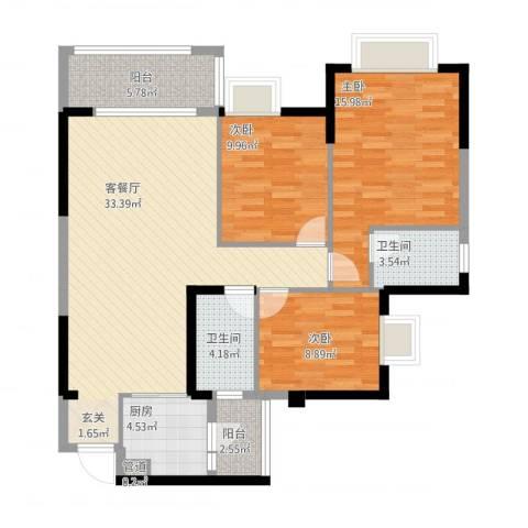 文泉西海岸3室1厅2卫1厨126.00㎡户型图
