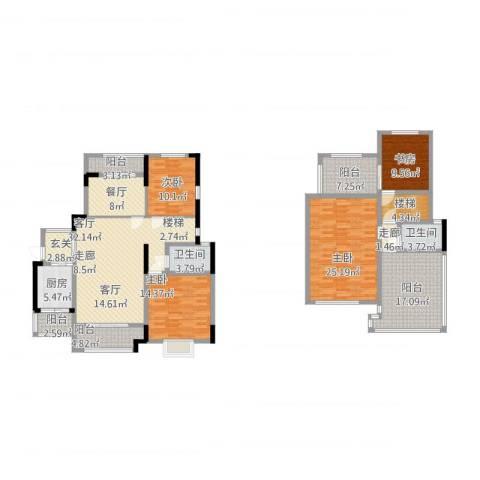 璧山金科中央公园城4室2厅2卫1厨225.00㎡户型图