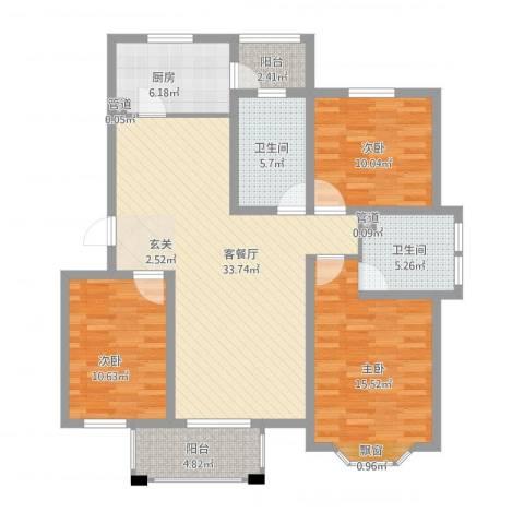 小安舍新村3室1厅4卫1厨135.00㎡户型图