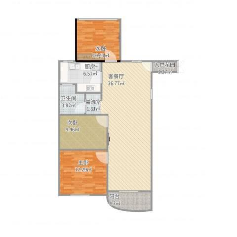 康恒嘉和豪庭3室1厅1卫1厨114.00㎡户型图