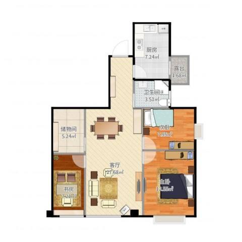 万达广场公寓3室1厅1卫1厨99.00㎡户型图