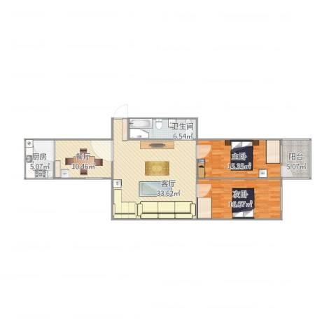 禹香苑2室2厅1卫1厨123.00㎡户型图
