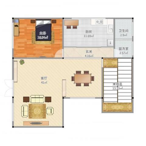 莲花村六组舒弯舒思达家建筑平面图1室2厅1卫1厨122.00㎡户型图