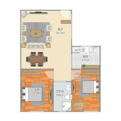 中环福境2室1厅2卫1厨83.00㎡户型图