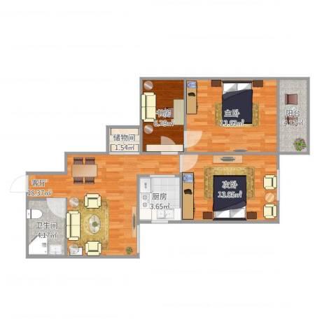 慧忠北里3室1厅1卫1厨88.00㎡户型图