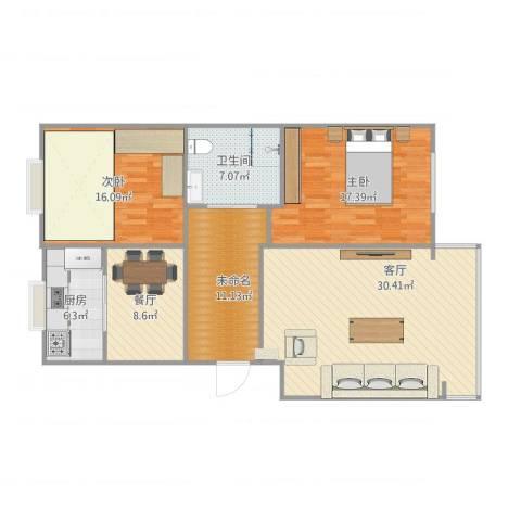 幸福小区2室2厅1卫1厨129.00㎡户型图