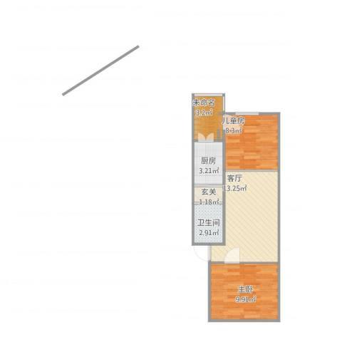 中科院中关村小区2室1厅1卫1厨57.00㎡户型图