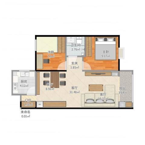龙溪香岸2室1厅2卫1厨75.00㎡户型图