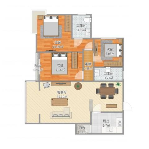 时代锋尚3室1厅2卫1厨109.00㎡户型图
