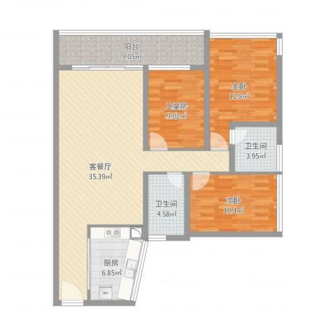 金地梅陇镇二期11栋15B3室1厅2卫1厨132.00㎡户型图