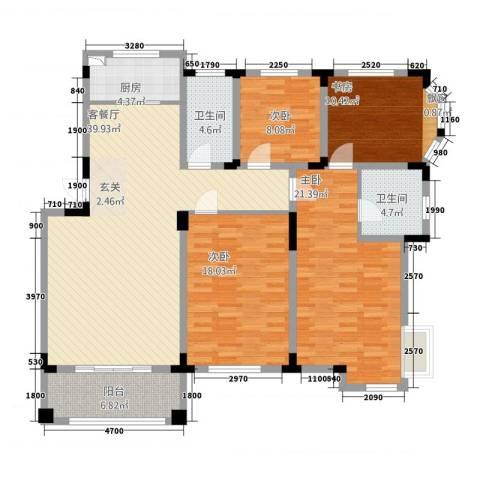蓝天城市花园4室1厅2卫1厨148.00㎡户型图