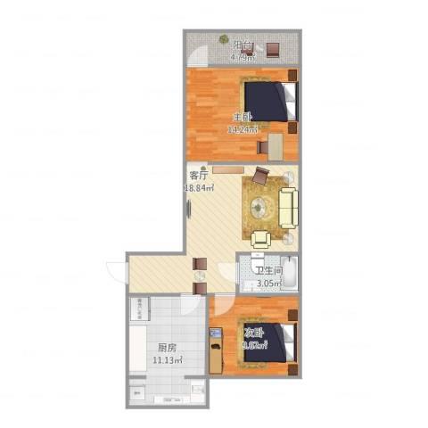 历园新村2室1厅1卫1厨66.79㎡户型图