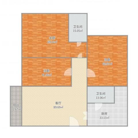 宝翠花园3室1厅2卫1厨434.00㎡户型图