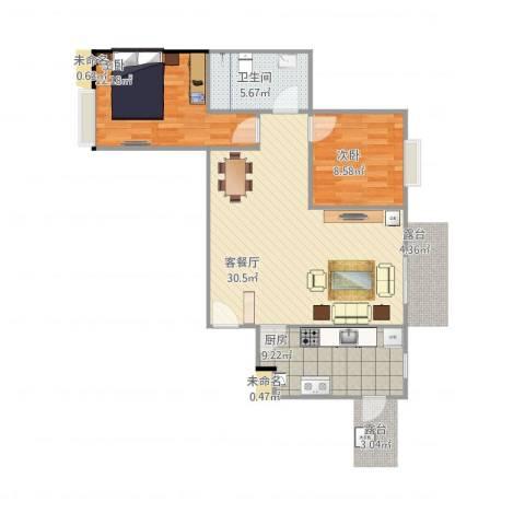 恒基雍景新城2室1厅1卫1厨89.00㎡户型图